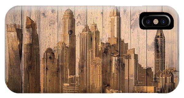 Skyline Of Dubai, Uae On Wood IPhone Case