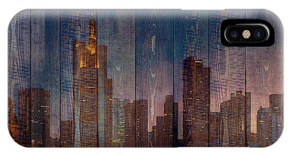 Skyline Of Frankfurt, Germany On Wood IPhone Case