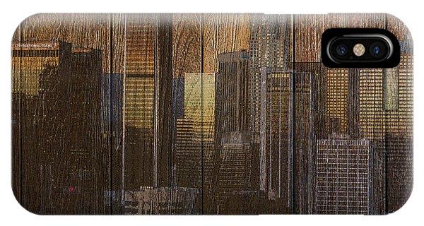 Skyline Of Los Angeles, Usa On Wood IPhone Case