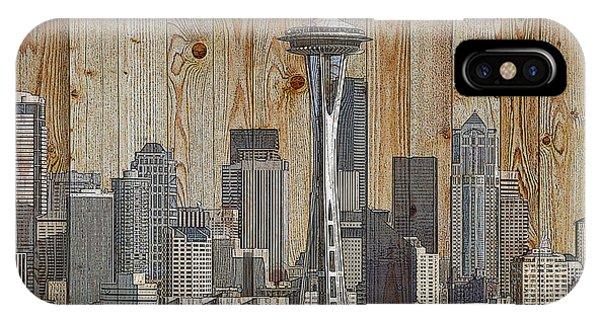 Skyline Of Seattle, Usa On Wood IPhone Case