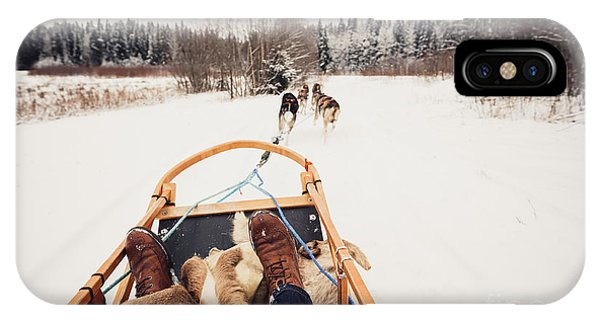 Cart iPhone Case - Sled Dogs Pulling A Sled Through The by Andrey Bayda