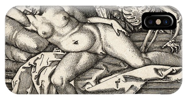 Bone iPhone Case - Sleeping Girl And Death, 1548 by Hans Sebald Beham
