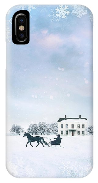 Sleigh With Horse In Snow Winter Scene IPhone Case