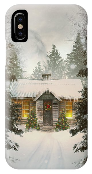 Small Cabin In A Snow Covered Forest IPhone Case