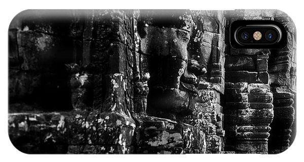 Angkor Thom iPhone Case - Smiling Faces Carved On Stones, Prasat by Panoramic Images