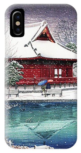 Umbrella Pine iPhone Case - Snow At Benten Shrine, Shinobazu - Digital Remastered Edition by Kawase Hasui