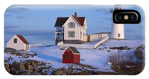 New England Coast iPhone Case - Snow Covered Lighthouse During Holiday by Allan Wood Photography