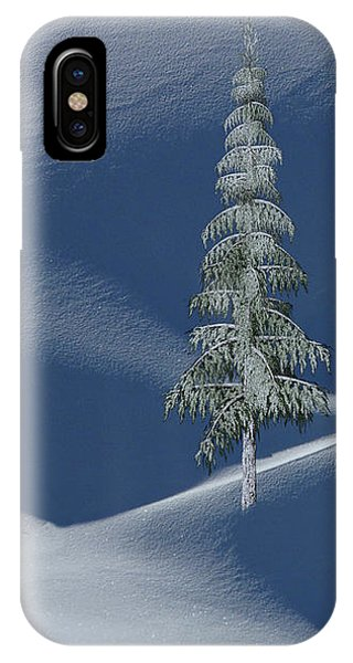 Snow Covered Tree And Mountains Color IPhone Case