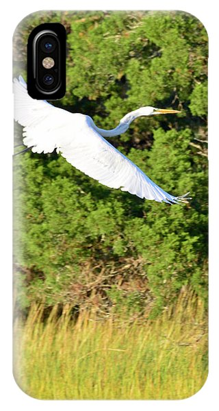 Snow Egret Soaring Above The Marsh IPhone Case