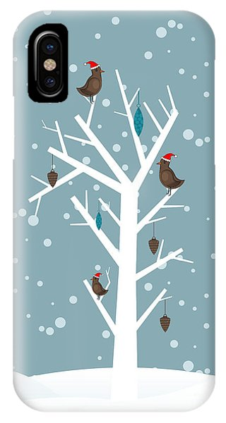 Santa Claus iPhone Case - Snow Fall Background With Birds Sitting by Allies Interactive