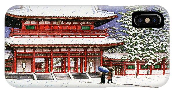 Umbrella Pine iPhone Case - Snow In The Heianjingu Shrine - Digital Remastered Edition by Kawase Hasui
