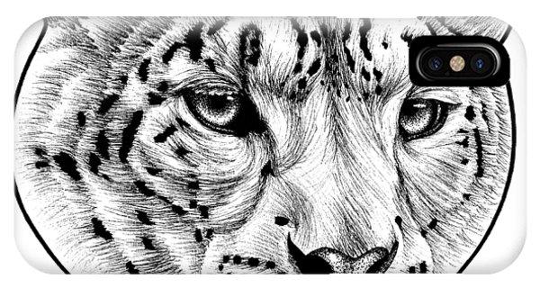 Snow Leopard iPhone Case - Snow Leopard - Ink Illustration by Loren Dowding