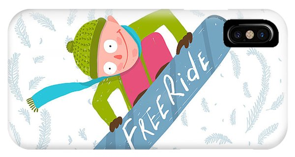 Winter Fun iPhone Case - Snowboard Funky Free Rider Jump Fun by Popmarleo