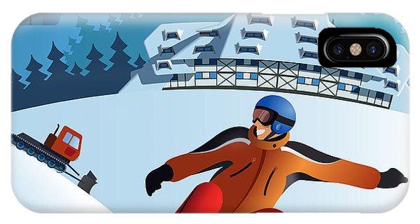 Winter Fun iPhone Case - Snowboard Winter Resort by Nikola Knezevic