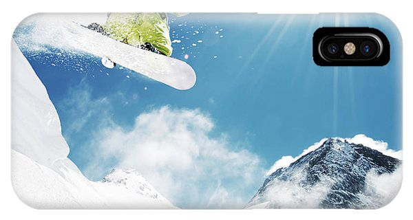 Young iPhone Case - Snowboarder At Jump Inhigh Mountains At by Im photo
