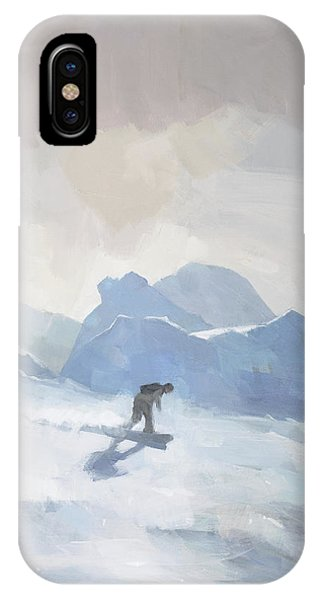 IPhone Case featuring the painting Snowboarding At Les Arcs by Steve Mitchell