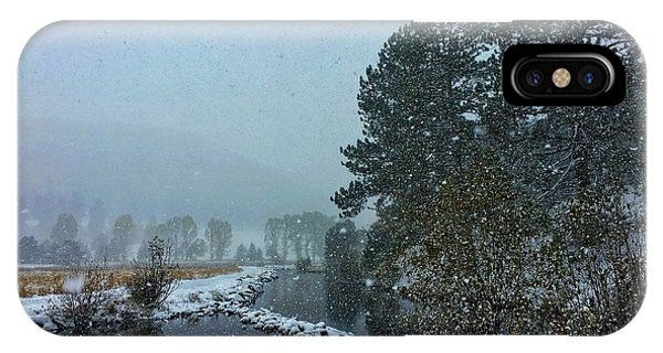 IPhone Case featuring the photograph Snowstorm At The Lake by Dan Miller