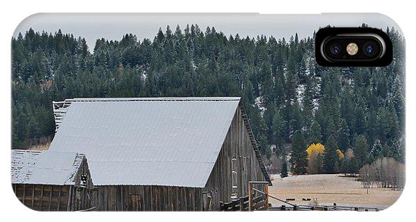 Snowy Barn Yellow Tree IPhone Case