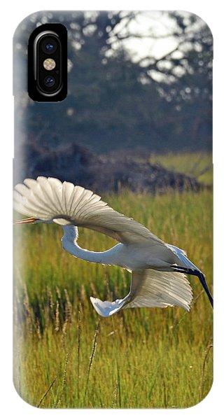 Snowy Egret Fanning In Flight IPhone Case