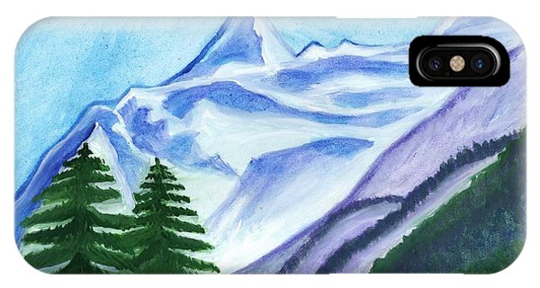 Two Mountain Spruce Against The Backdrop Of Snow-capped Peak IPhone Case