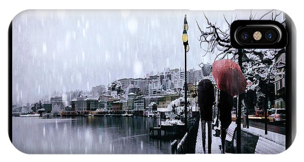 Park Bench iPhone Case - Snowy Walk by Tim Palmer