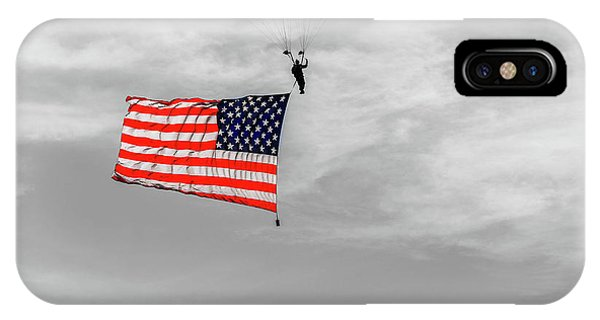 IPhone Case featuring the photograph Socom Flag Jump In Selective Color by Doug Camara
