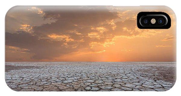 Heat iPhone Case - Soil Drought Cracked Landscape Sunset by Philipyb Studio