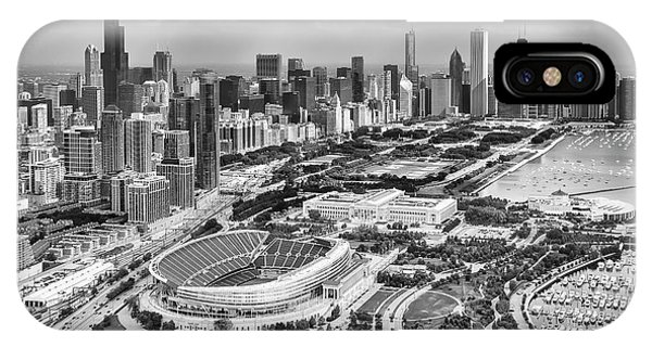 IPhone Case featuring the photograph Soldier Field And Chicago Skyline Black And White by Adam Romanowicz