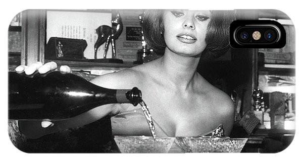 Coupe iPhone Case - Sophia Loren, Coupe Champagne Glasses by Thomas Pollart