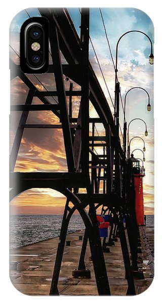 IPhone Case featuring the photograph South Haven Pier Sunset by Lars Lentz