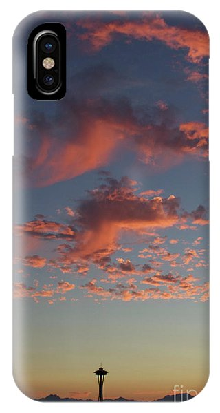 Space Needle And Pink Clouds IPhone Case