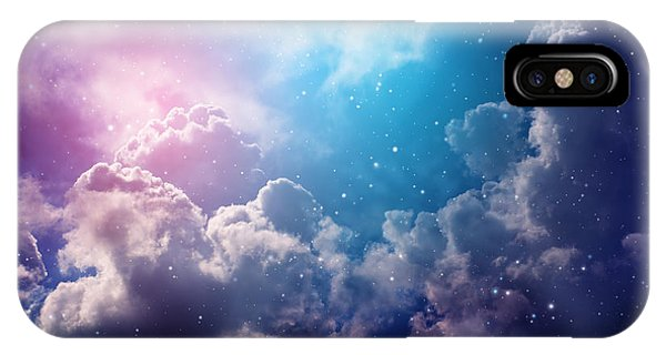 Astro iPhone Case - Space Of Night Sky With Cloud And Stars by Nednapa