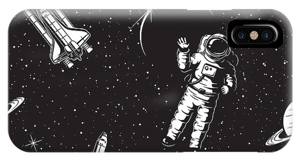 Astronaut iPhone Case - Space Seamless Pattern. Black And White by Vectorpot