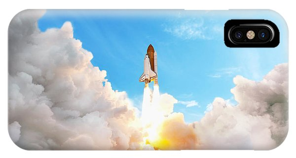 Discovery iPhone Case - Space Shuttle Taking Off On A Mission by Alones