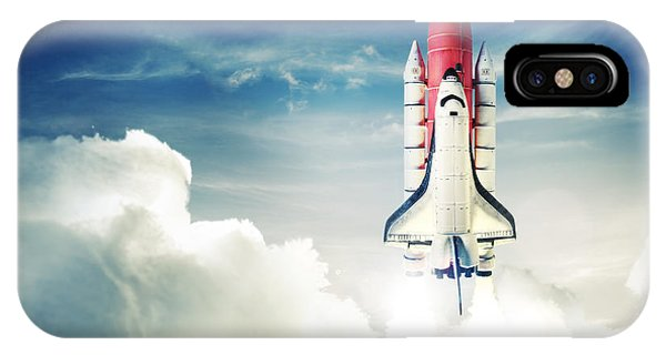 Space iPhone Case - Space Shuttle Taking Off On A Mission by Fer Gregory