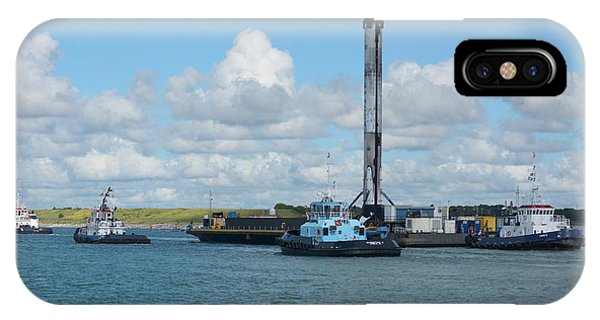 IPhone Case featuring the photograph Spacex Booster On Barge-3 by Bradford Martin