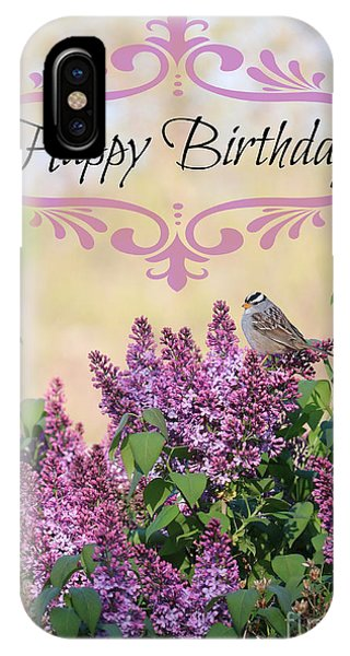 iPhone Case - Sparrow In Lilacs Birthday Card by Carol Groenen