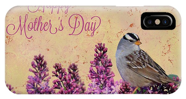 iPhone Case - Sparrow In The Lilacs Mother's Day Card by Carol Groenen