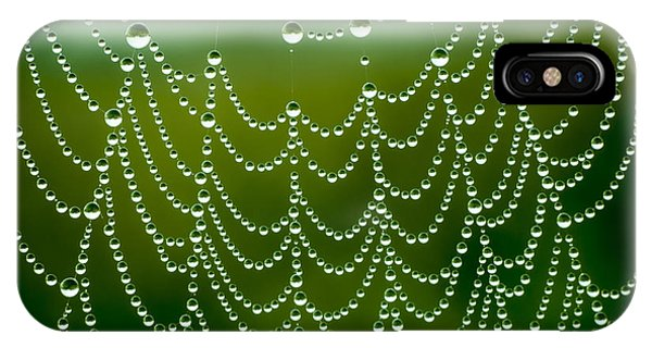Water Droplets iPhone Case - Spider Net With Water Drops by Ubc Stock