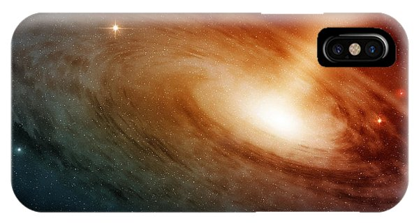 Solar System iPhone Case - Spiral Galaxy System Glowing Into Deep by Paulista