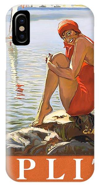 Split Rock iPhone Case - Split, Yugoslavia, Croatia, Woman Sitting On The Rock by Long Shot