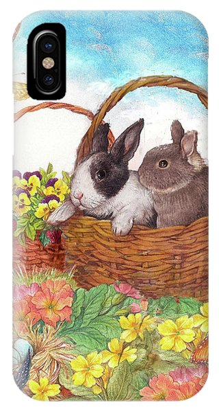 Spring Garden With Bunnies, Butterfly IPhone Case
