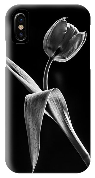 Black Tulip iPhone X Case - Spring Offering In Black And White  by Maggie Terlecki