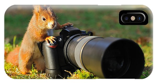 Eating iPhone Case - Squirrel As A Photographer With Big by Stanislav Duben