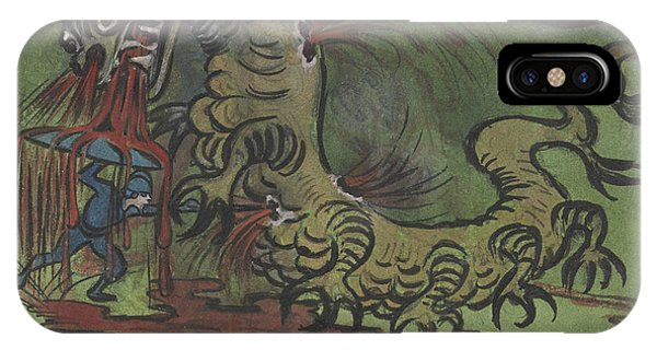 IPhone Case featuring the drawing St. Goran And The Dragon by Ivar Arosenius