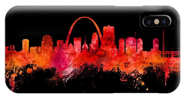 Missouri iPhone Case - St Louis Missouri Skyline Custom Color Red by Michael Tompsett