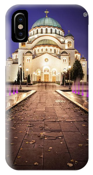 IPhone Case featuring the photograph St. Sava Temple In Belgrade Nightscape by Milan Ljubisavljevic