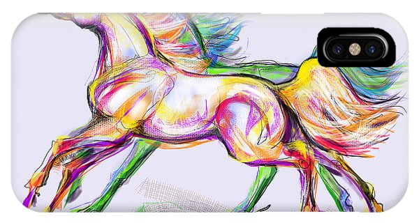 Crayon Bright Horses IPhone Case