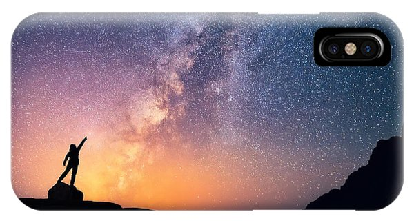 Shooting iPhone Case - Star-catcher. A Person Is Standing Next by Anton Jankovoy