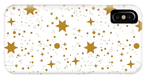 Simple iPhone X Case - Star, Pattern, White, Background, Gold by Ann.and.pen